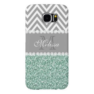 MINT GREEN GLITTER, GRAY CHEVRON, MONOGRAMMED SAMSUNG GALAXY S6 CASES
