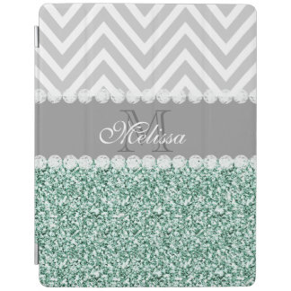 MINT GREEN GLITTER, GRAY CHEVRON, MONOGRAMMED iPad COVER