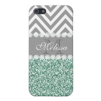 MINT GREEN GLITTER, GRAY CHEVRON, MONOGRAMMED iPhone 5/5S CASES