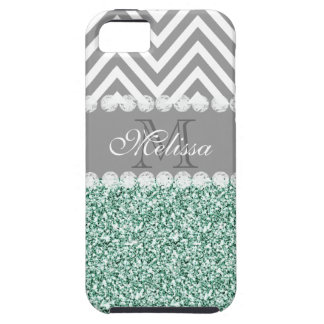 MINT GREEN GLITTER, GRAY CHEVRON, MONOGRAMMED iPhone 5 CASES