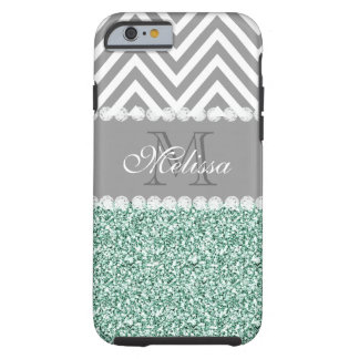 MINT GREEN GLITTER, GRAY CHEVRON, MONOGRAMMED TOUGH iPhone 6 CASE
