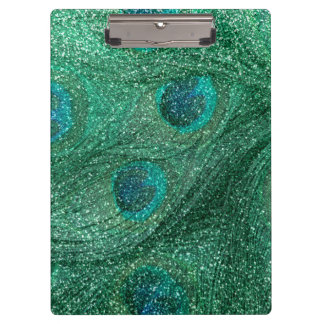 mint green glitter peacock feathers clipboard