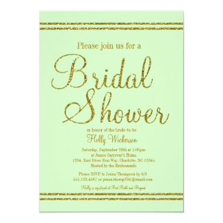 "Mint green & Gold Bridal Wedding shower invitation 5"" X 7"" Invitation Card"