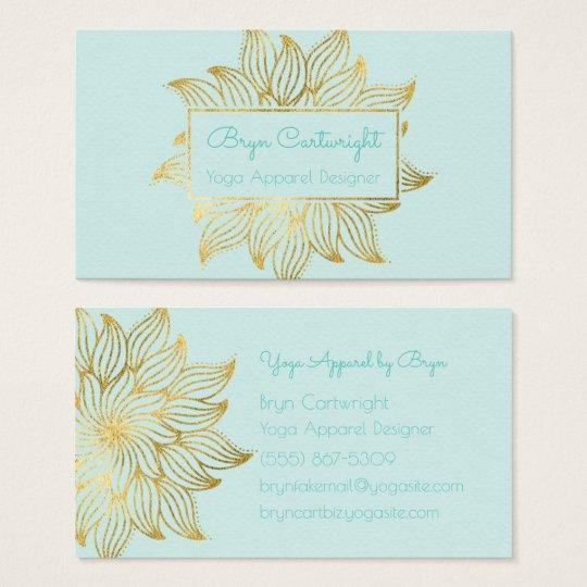 Mint Green Gold Lotus Mandala Business Card