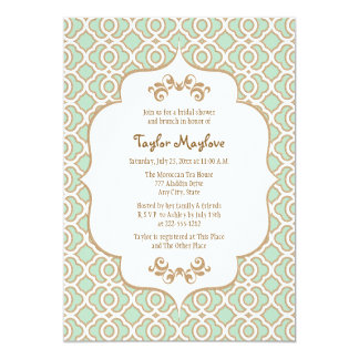 Mint Green Gold Moroccan Bridal Shower Invites