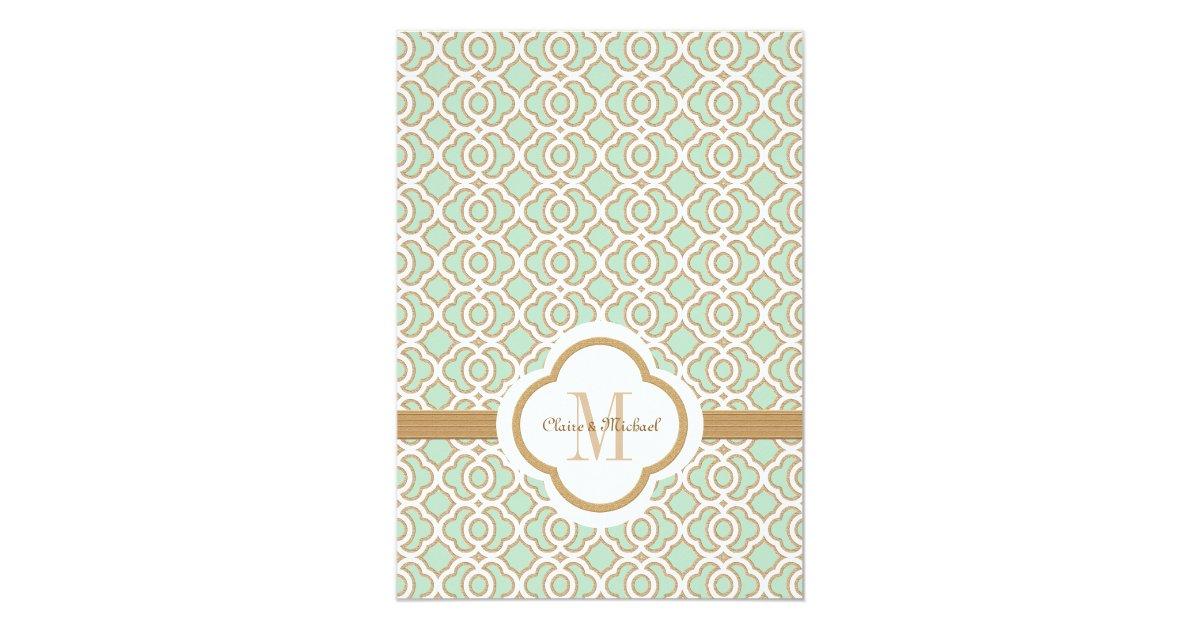 Mint Green And Gold Wedding Invitations: Mint Green Gold Moroccan Wedding Invitations