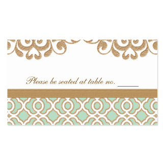 Mint Green Gold Moroccan Wedding Table Place Pack Of Standard Business Cards
