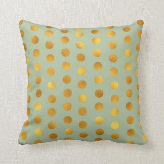 Mint Green Gold Polka Big Dots Confetti Cushion