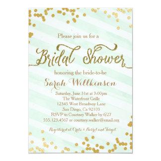 Mint Green & Gold Wedding Bridal Shower invitation