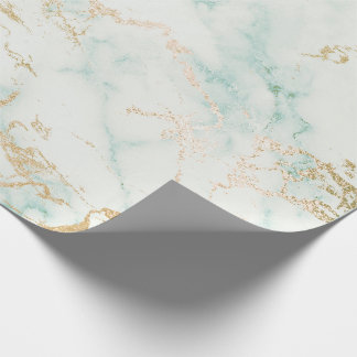 Mint Green Gold White Gray Marble Stone Brushes Wrapping Paper