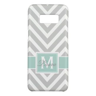 Mint Green Gray Chevron Pattern Personalized Case-Mate Samsung Galaxy S8 Case