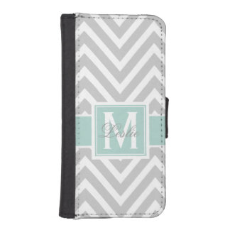 MINT GREEN, GRAY CHEVRON PATTERN PERSONALIZED iPhone SE/5/5s WALLET CASE
