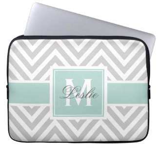 MINT GREEN, GRAY CHEVRON PATTERN PERSONALIZED LAPTOP SLEEVE