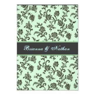 Mint Green & Gray Flower Damask Wedding Invitation