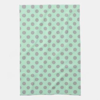 Mint Green Gray Girly Modern Polka Dots Pattern Tea Towel