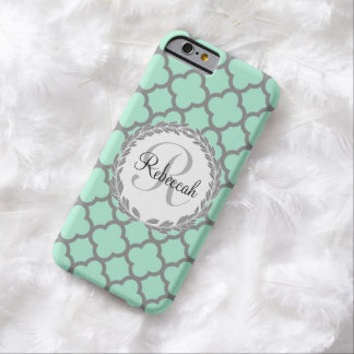 Mint Green Gray Quatrefoil Name Monogrammed Laurel Barely There iPhone 6 Case