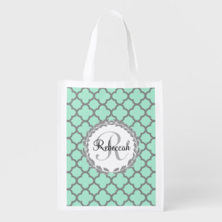 Mint Green Gray Quatrefoil Name Monogrammed Laurel Reusable Grocery Bag