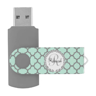 Mint Green Gray Quatrefoil Name Monogrammed Laurel USB Flash Drive
