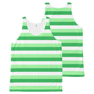 Mint Green, Green and White Stripes All-Over Print Tank Top