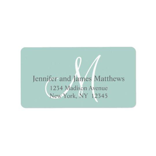 Mint Green, Grey Monogram for Weddings Address Label