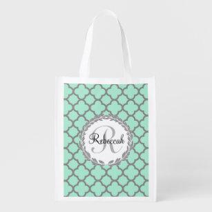 Mint Green Grey Quatrefoil Name Monogrammed Laurel Reusable Grocery Bag