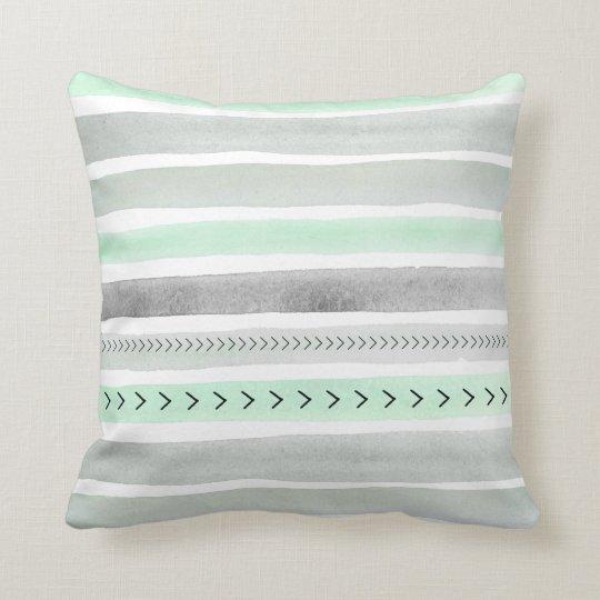 Mint Green Grey Watercolour Stripes Arrows Pattern Throw