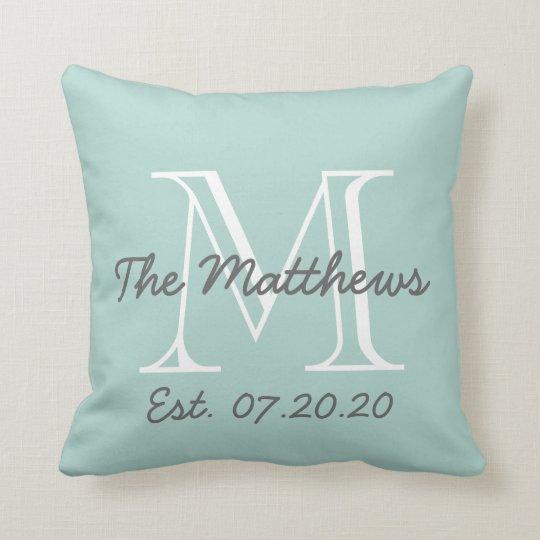 Mint Green Grey White Family Monogram Cushion