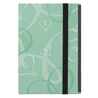 Mint green heart pattern iPad mini case