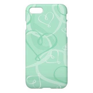 Mint green heart pattern iPhone 8/7 case