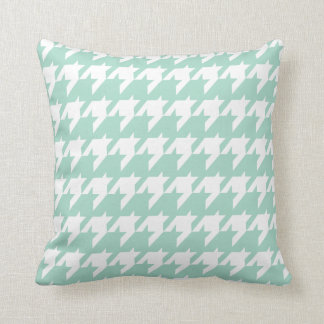 Mint green Houndstooth Throw Pillow