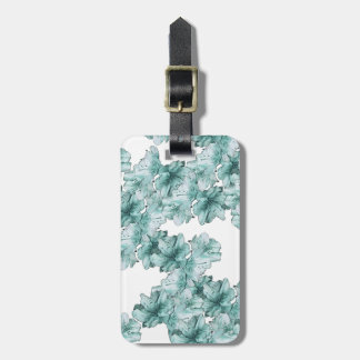 Mint Green Illustrated Flower Floral Pattern Bag Tag