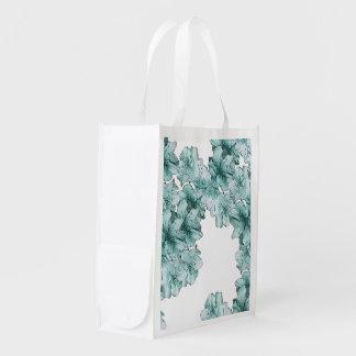 Mint Green Illustrated Flower Floral Pattern Grocery Bag