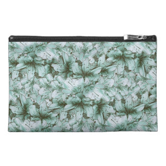 Mint Green Illustrated Flower Floral Pattern Travel Accessory Bag