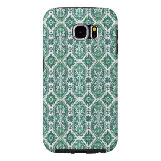 Mint Green Italian Tiling Palm Leaf Leaves Design Samsung Galaxy S6 Cases