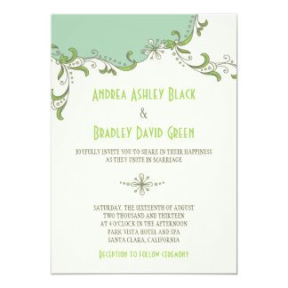 Mint Green Ivory Floral Garland Wedding Invitation