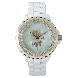 Mint Green Ivory Roses White Rhinestones Watch
