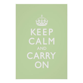 Mint Green Keep Calm and Carry On Poster