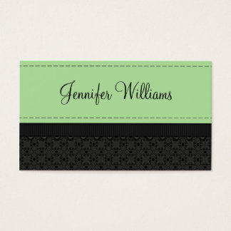 Mint Green Label Ribbon Business Cards