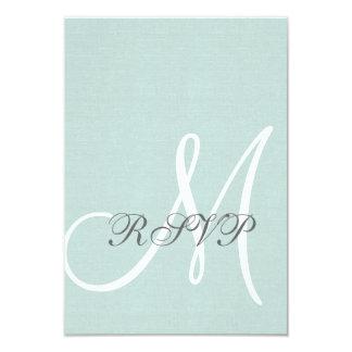 Mint Green Linen Rustic Wedding RSVP Card