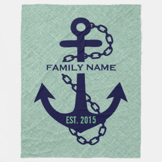 Mint-green Linen With Blue Wedding Anchor Fleece Blanket