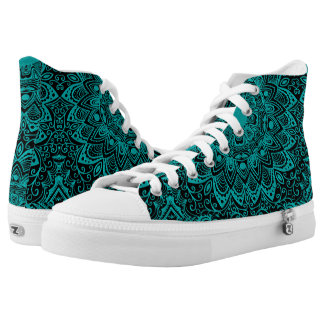 Mint Green Mandala Monogram Customizable Color Printed Shoes