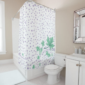 Mint green maple leaves and lavender polka dots shower curtain