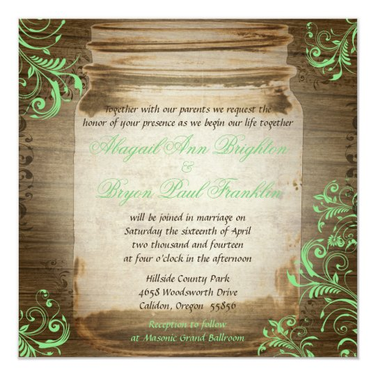 Mint Green Mason Jar Vintage Wedding Invitation