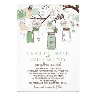 Mint Green Mason Jars Wedding Invitation