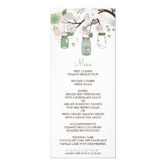 Mint Green Mason Jars Wedding Menu Card 10 Cm X 24 Cm Invitation Card