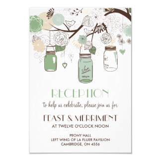 Mint Green Mason Jars Wedding Reception Card