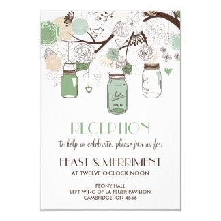 Mint Green Mason Jars Wedding Reception Card 9 Cm X 13 Cm Invitation Card