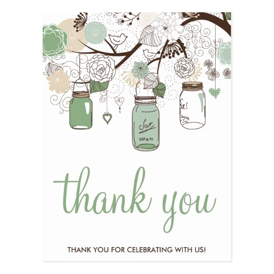 Mint Green Mason Jars Wedding Thank You Postcard