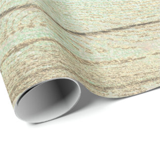 Mint Green Metallic Champaign Gold Wood Rustic Wrapping Paper