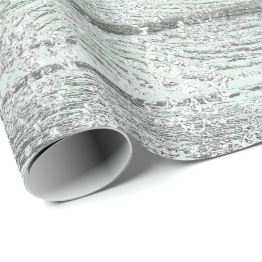 Mint Green Metallic Damask Silver Gray Wood Rustic